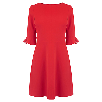 Flute Sleeve Dress - neckline: round neck; sleeve style: bell sleeve; pattern: plain; predominant colour: true red; occasions: evening, occasion; length: just above the knee; fit: fitted at waist & bust; style: fit & flare; fibres: polyester/polyamide - stretch; hip detail: subtle/flattering hip detail; sleeve length: 3/4 length; pattern type: fabric; texture group: jersey - stretchy/drapey; season: a/w 2016; wardrobe: event