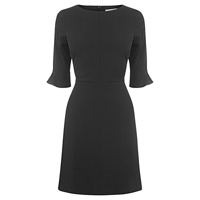 Flute Sleeve Dress - neckline: round neck; sleeve style: bell sleeve; pattern: plain; predominant colour: black; occasions: casual, work; length: just above the knee; fit: fitted at waist & bust; style: fit & flare; fibres: polyester/polyamide - stretch; hip detail: soft pleats at hip/draping at hip/flared at hip; sleeve length: 3/4 length; pattern type: fabric; pattern size: standard; texture group: jersey - stretchy/drapey; wardrobe: basic; season: a/w 2016; trends: statement sleeves
