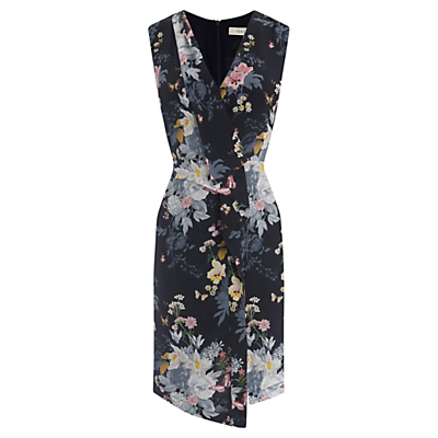 Botanical Bouquet Silk Dress, Multi/Blue - style: faux wrap/wrap; length: mid thigh; neckline: v-neck; fit: tailored/fitted; sleeve style: sleeveless; secondary colour: pale blue; predominant colour: navy; occasions: evening, occasion; fibres: silk - mix; sleeve length: sleeveless; pattern type: fabric; pattern size: standard; pattern: florals; texture group: woven light midweight; season: a/w 2016; wardrobe: event