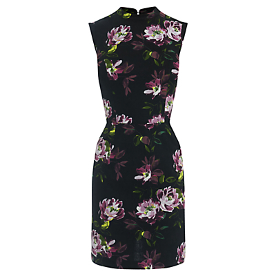 Painted Rose Jacquard Dress, Black - style: shift; length: mid thigh; fit: tailored/fitted; sleeve style: sleeveless; hip detail: draws attention to hips; secondary colour: aubergine; predominant colour: black; occasions: evening, occasion; neckline: collarstand; fibres: polyester/polyamide - stretch; sleeve length: sleeveless; pattern type: fabric; pattern size: standard; pattern: florals; texture group: brocade/jacquard; season: a/w 2016; wardrobe: event