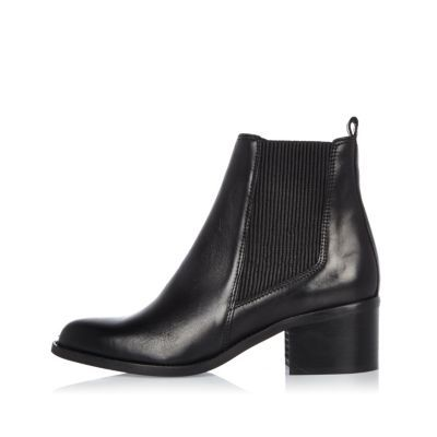 Womens Black Leather Block Heel Chelsea Boots - predominant colour: black; occasions: casual; material: leather; heel height: mid; heel: block; toe: round toe; boot length: ankle boot; finish: plain; pattern: plain; style: chelsea; wardrobe: basic; season: a/w 2016