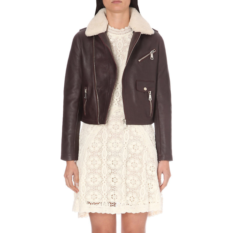 Bluff Leather Jacket, Women's, Maroon - pattern: plain; style: biker; collar: asymmetric biker; fit: slim fit; secondary colour: ivory/cream; predominant colour: chocolate brown; occasions: casual; length: standard; fibres: leather - 100%; sleeve length: long sleeve; sleeve style: standard; texture group: leather; collar break: medium; pattern type: fabric; embellishment: fur; multicoloured: multicoloured; season: a/w 2016