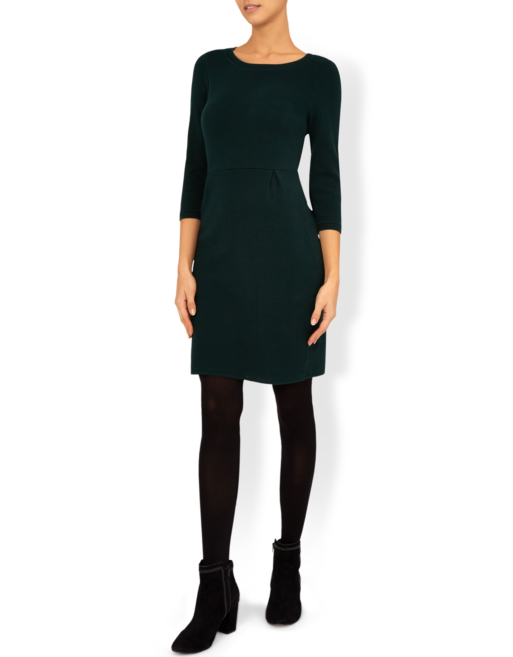 Stella Structured Tulip Dress - neckline: round neck; pattern: plain; style: tulip; predominant colour: black; occasions: evening; length: just above the knee; fit: body skimming; fibres: polyester/polyamide - stretch; sleeve length: 3/4 length; sleeve style: standard; pattern type: fabric; texture group: jersey - stretchy/drapey; season: a/w 2016; wardrobe: event
