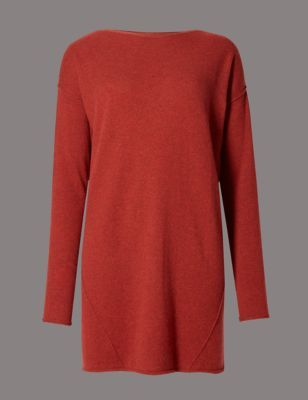 Pure Cashmere Seam Slash Neck Jumper - neckline: slash/boat neckline; pattern: plain; length: below the bottom; style: tunic; predominant colour: true red; occasions: casual, creative work; fit: loose; fibres: cashmere - 100%; sleeve length: long sleeve; sleeve style: standard; texture group: knits/crochet; pattern type: knitted - fine stitch; pattern size: standard; season: a/w 2016; wardrobe: highlight