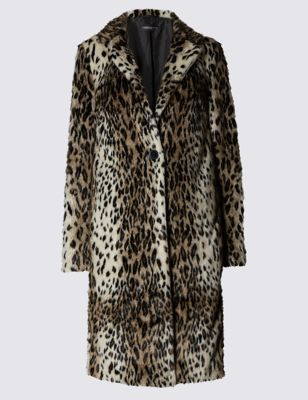 Faux Fur Animal Print Lined Coat - fit: loose; collar: standard lapel/rever collar; hip detail: draws attention to hips; secondary colour: chocolate brown; predominant colour: camel; occasions: casual; fibres: polyester/polyamide - 100%; style: fur coat; length: below the knee; sleeve length: long sleeve; sleeve style: standard; texture group: fur; collar break: medium; pattern type: fabric; pattern: animal print; multicoloured: multicoloured; season: a/w 2016; wardrobe: highlight