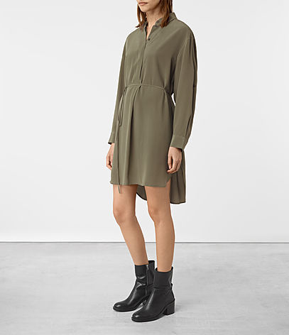 Alex Silk Shirt Dress - style: shirt; neckline: shirt collar/peter pan/zip with opening; pattern: plain; waist detail: belted waist/tie at waist/drawstring; predominant colour: khaki; occasions: casual, creative work; length: just above the knee; fit: body skimming; fibres: silk - 100%; sleeve length: long sleeve; sleeve style: standard; texture group: structured shiny - satin/tafetta/silk etc.; pattern type: fabric; wardrobe: basic; season: a/w 2016