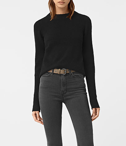 Alpha Crew Neck Jumper - pattern: plain; neckline: high neck; style: standard; predominant colour: black; occasions: casual; length: standard; fibres: wool - mix; fit: slim fit; sleeve length: long sleeve; sleeve style: standard; texture group: knits/crochet; pattern type: knitted - other; season: a/w 2016