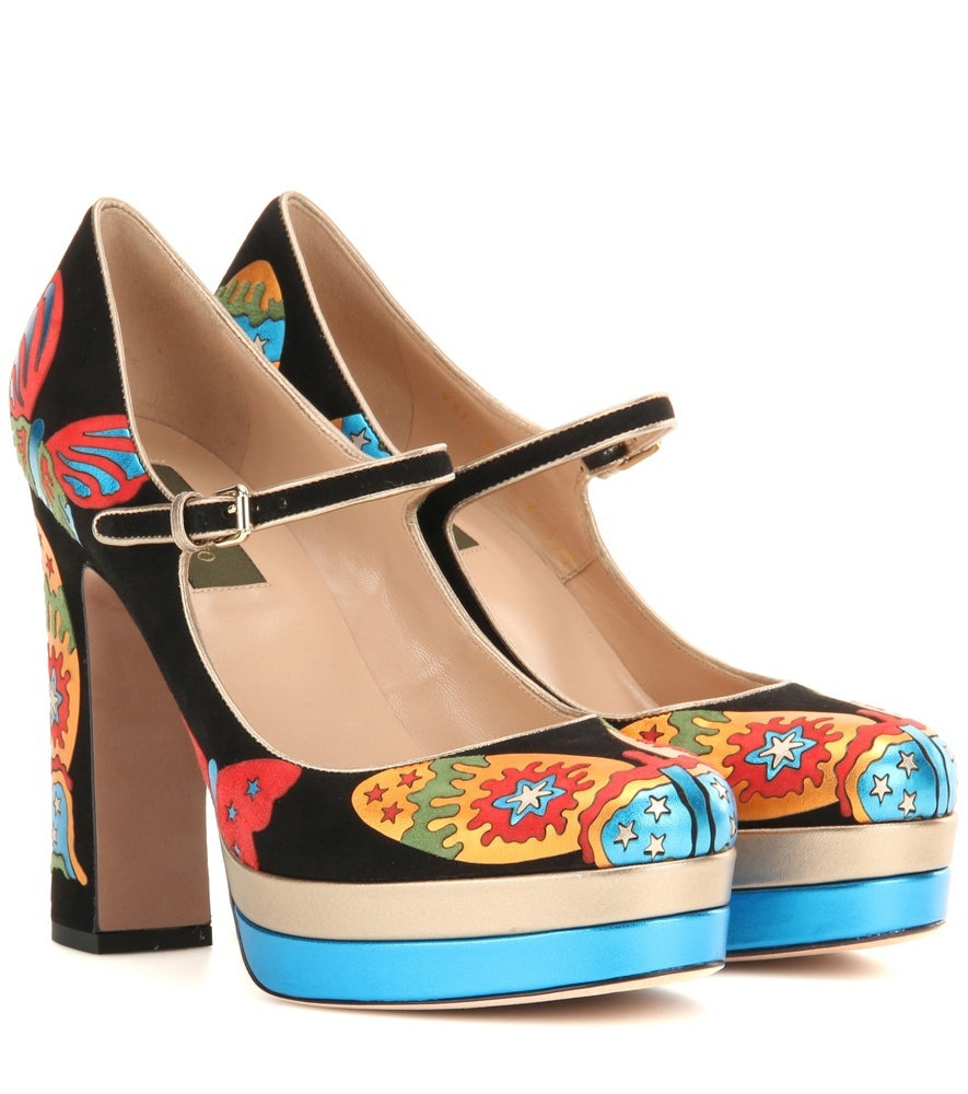 Garavani Suede And Metallic Leather Platform Pumps - secondary colour: turquoise; predominant colour: black; occasions: evening; material: leather; heel: block; toe: round toe; style: mary janes; finish: plain; pattern: patterned/print; heel height: very high; shoe detail: platform; multicoloured: multicoloured; season: a/w 2016; wardrobe: event