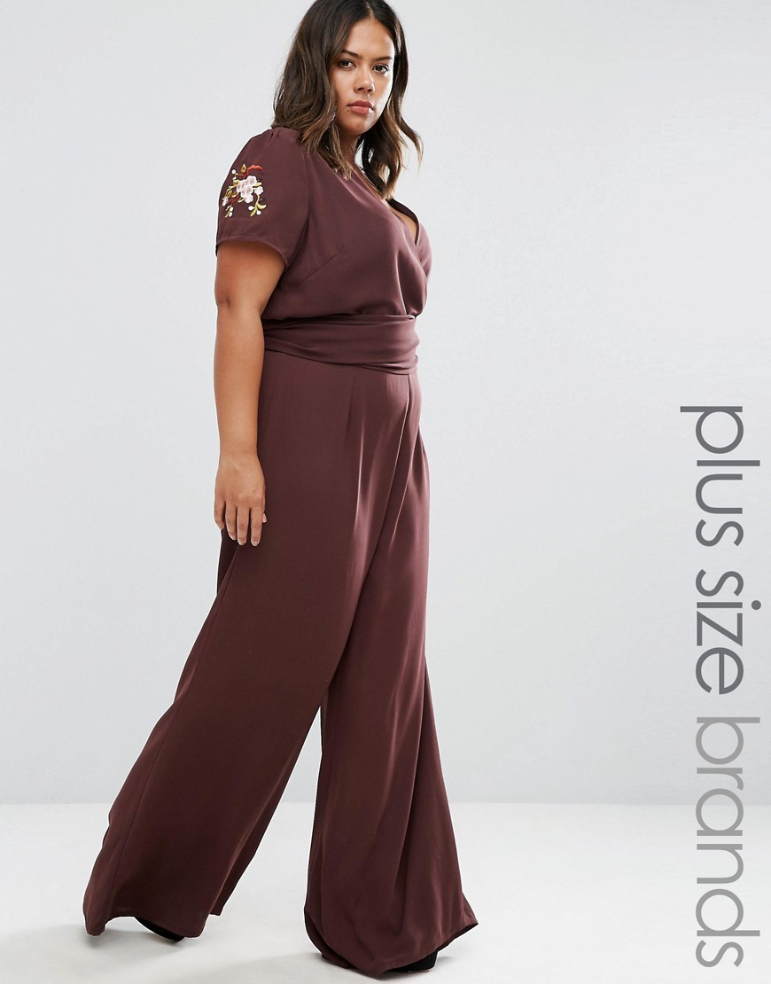Embroidered Jumpsuit Chocolate - length: standard; neckline: v-neck; predominant colour: chocolate brown; occasions: evening; fit: body skimming; fibres: polyester/polyamide - 100%; sleeve length: short sleeve; sleeve style: standard; style: jumpsuit; pattern type: fabric; pattern: florals; texture group: jersey - stretchy/drapey; embellishment: embroidered; season: a/w 2016; wardrobe: event; embellishment location: shoulder