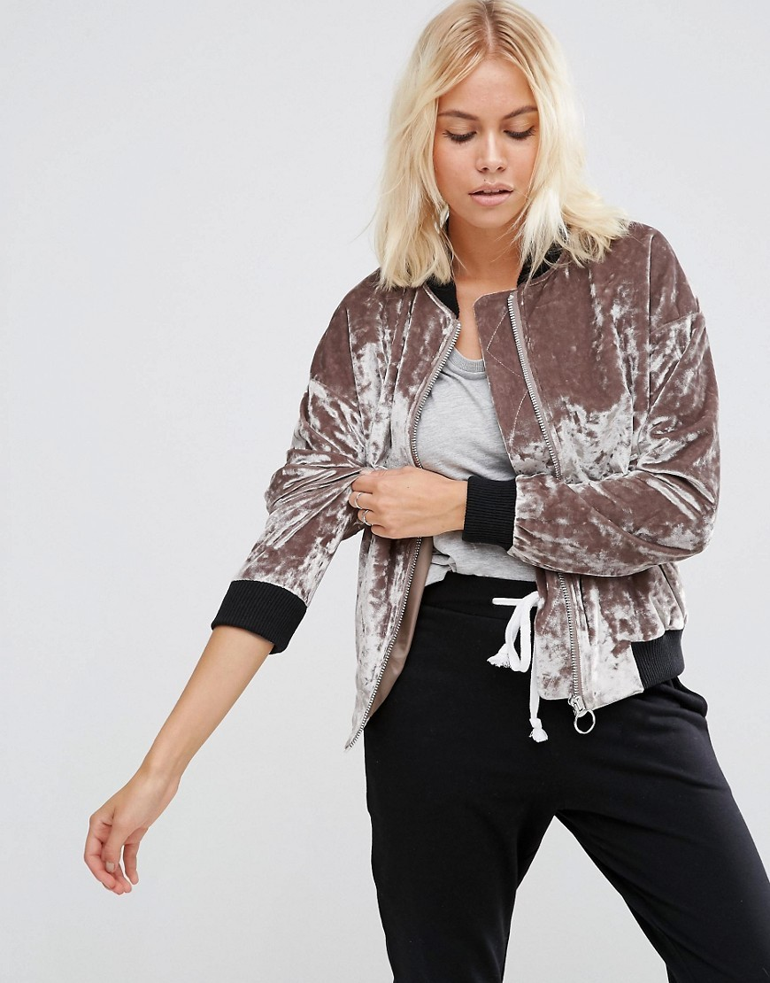 Velvet Bomber Jacket Mink - pattern: plain; collar: round collar/collarless; style: bomber; predominant colour: nude; secondary colour: black; occasions: casual; length: standard; fit: tailored/fitted; fibres: polyester/polyamide - stretch; sleeve length: long sleeve; sleeve style: standard; collar break: high; pattern type: fabric; texture group: velvet/fabrics with pile; multicoloured: multicoloured; season: a/w 2016; wardrobe: highlight