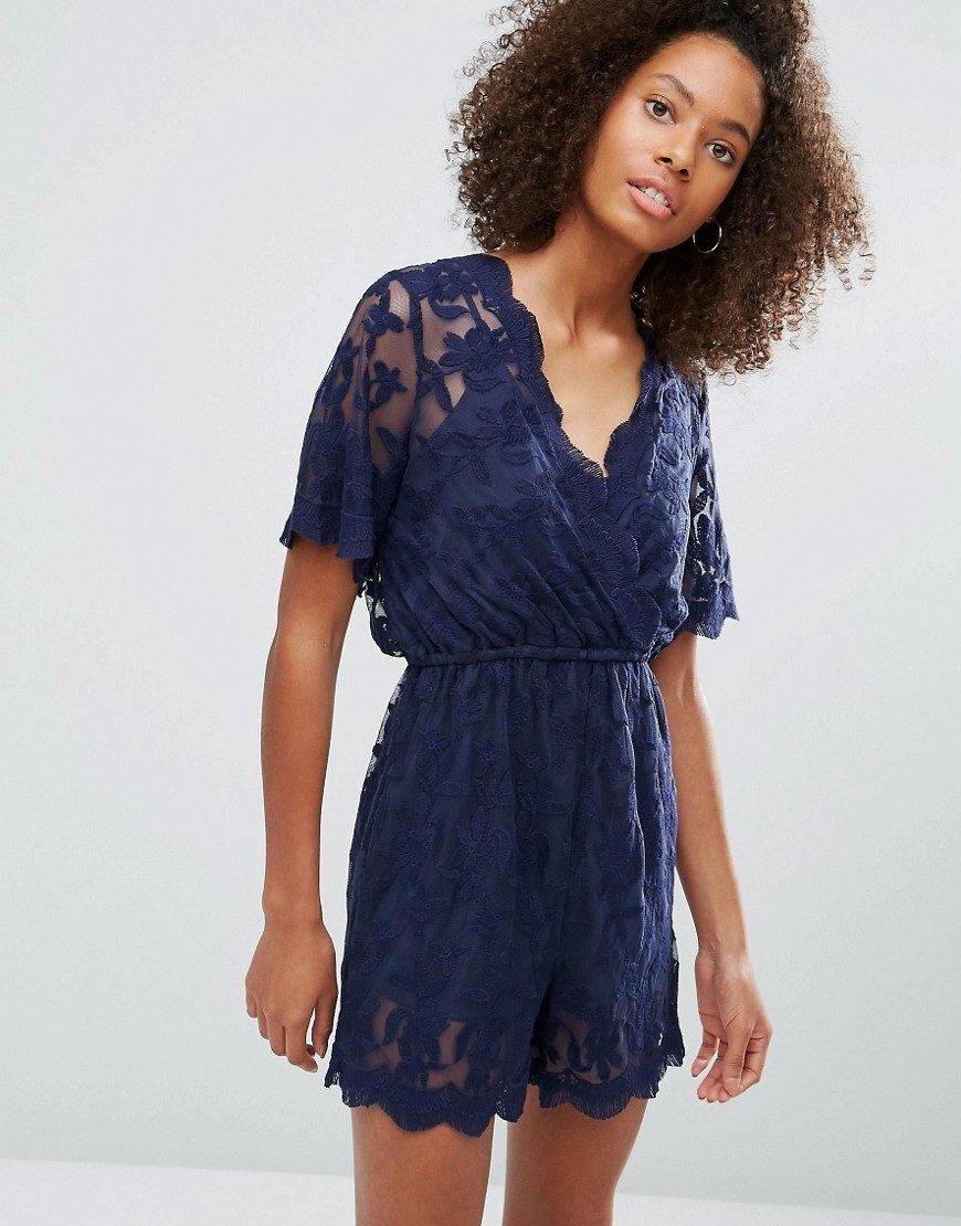 Lace V Neck Playsuit Navy - neckline: v-neck; length: mid thigh shorts; predominant colour: navy; occasions: evening; fit: body skimming; fibres: cotton - mix; sleeve length: short sleeve; sleeve style: standard; texture group: lace; style: playsuit; pattern type: fabric; pattern size: standard; pattern: patterned/print; embellishment: lace; season: a/w 2016; wardrobe: event