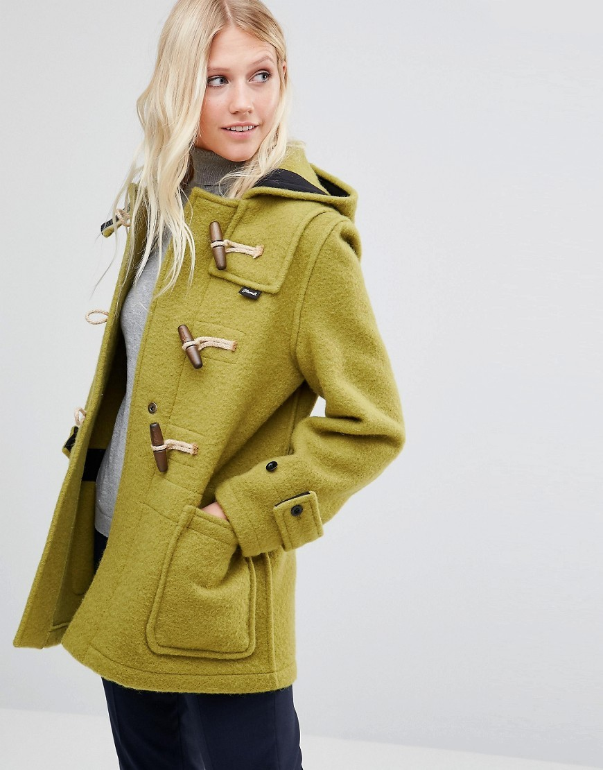 Mid Monty In Moss Moss - pattern: plain; length: below the bottom; collar: funnel; fit: loose; style: duffle coat; predominant colour: lime; occasions: casual; fibres: wool - mix; sleeve length: long sleeve; sleeve style: standard; collar break: high; pattern type: fabric; texture group: woven bulky/heavy; season: a/w 2016; wardrobe: highlight