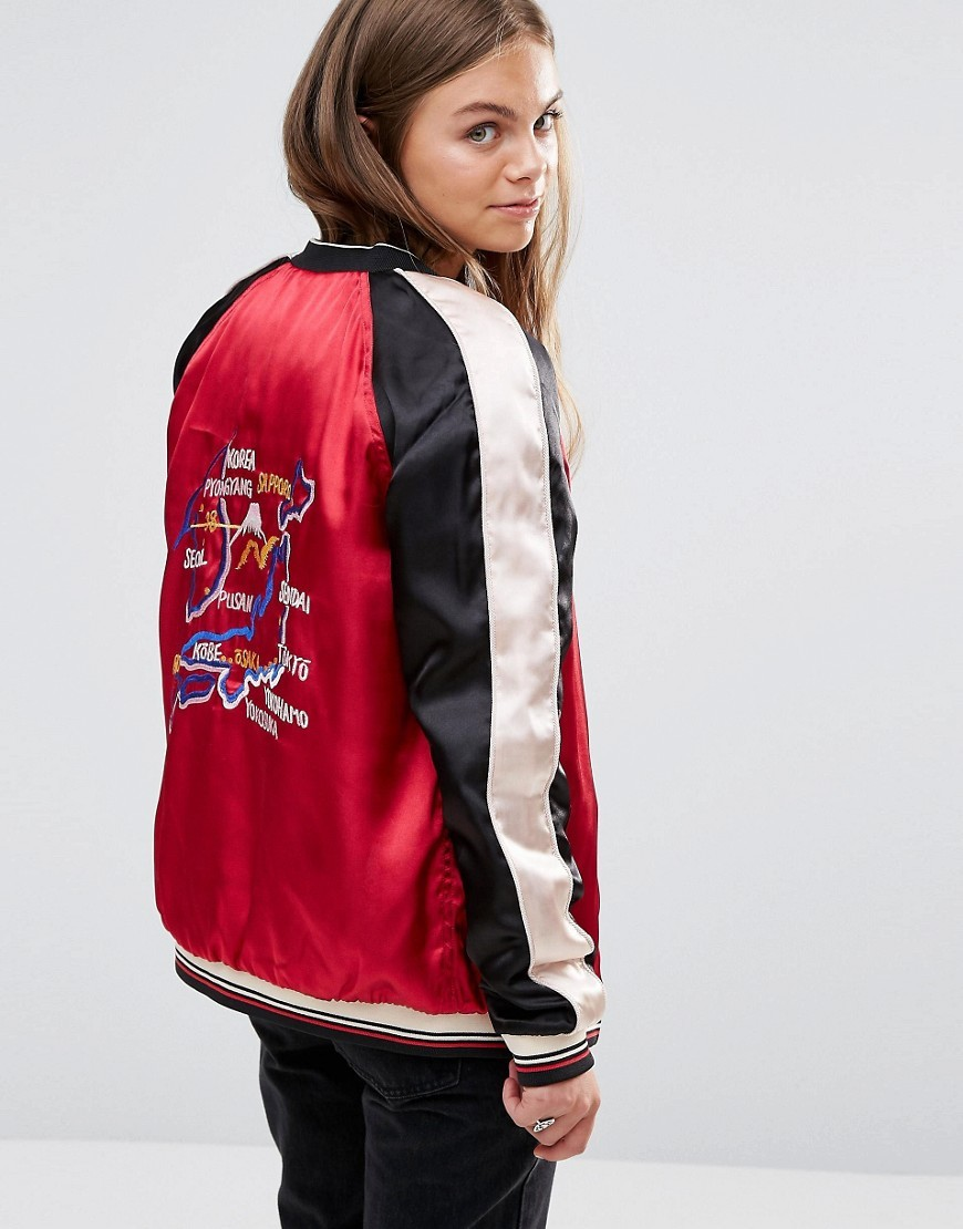 Reversable Tokyo Embroidered Bomber Jacket C Red - pattern: striped; collar: round collar/collarless; length: below the bottom; fit: slim fit; style: bomber; predominant colour: true red; secondary colour: black; occasions: casual; fibres: polyester/polyamide - 100%; sleeve length: long sleeve; sleeve style: standard; texture group: structured shiny - satin/tafetta/silk etc.; collar break: high; pattern type: fabric; multicoloured: multicoloured; season: a/w 2016; wardrobe: highlight