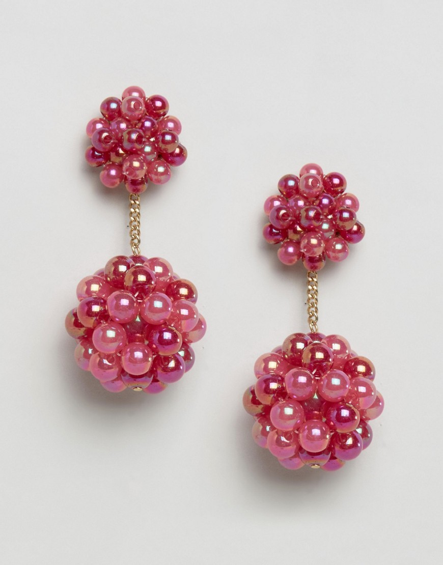 Bead Pom Strand Earrings Red - predominant colour: true red; occasions: evening, occasion; style: drop; length: mid; size: standard; material: chain/metal; fastening: pierced; finish: plain; embellishment: beading; season: a/w 2016; wardrobe: event