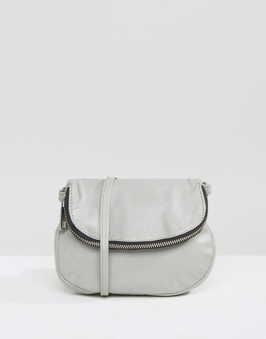 Zip Front Leather Cross Body Bag Grey - predominant colour: light grey; occasions: casual; type of pattern: standard; style: messenger; length: across body/long; size: small; material: leather; pattern: plain; finish: plain; wardrobe: basic; season: a/w 2016