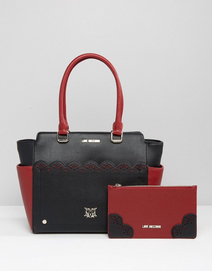 Tote Bag Nero/Rubino - secondary colour: true red; predominant colour: black; occasions: casual; type of pattern: standard; style: tote; length: shoulder (tucks under arm); size: standard; material: leather; pattern: plain; finish: plain; multicoloured: multicoloured; wardrobe: investment; season: a/w 2016