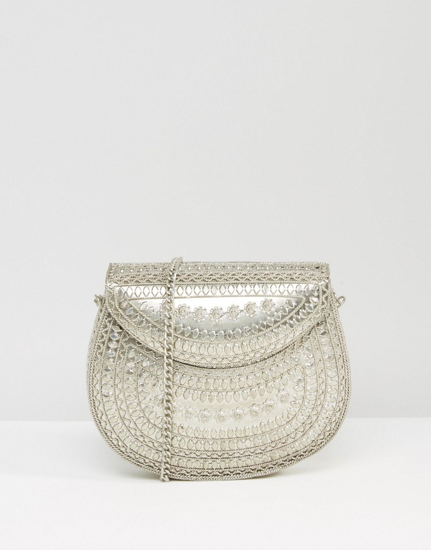 Metal Cross Body Bag Silver - predominant colour: silver; occasions: casual; type of pattern: standard; style: messenger; length: across body/long; size: small; material: fabric; pattern: plain; finish: metallic; embellishment: chain/metal; season: a/w 2016; wardrobe: highlight