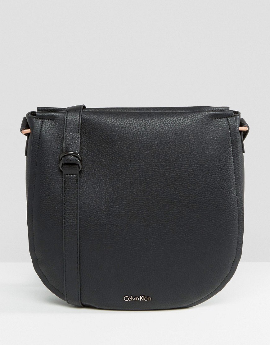 Large Saddle Bag With Stud Detail Black - predominant colour: black; occasions: casual; type of pattern: standard; style: messenger; length: across body/long; size: small; material: leather; pattern: plain; finish: plain; wardrobe: basic; season: a/w 2016