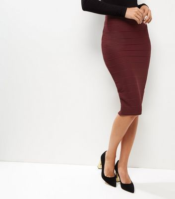 Burgundy Bandage Pencil Skirt - pattern: plain; style: pencil; fit: tight; waist: mid/regular rise; predominant colour: burgundy; occasions: evening, work; length: on the knee; fibres: polyester/polyamide - stretch; texture group: jersey - clingy; pattern type: fabric; season: a/w 2016; wardrobe: highlight