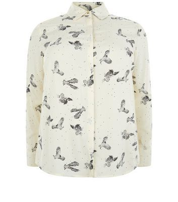 Curves White Owl Print Shirt - neckline: shirt collar/peter pan/zip with opening; style: shirt; predominant colour: ivory/cream; secondary colour: charcoal; occasions: casual; length: standard; fibres: viscose/rayon - 100%; fit: body skimming; sleeve length: long sleeve; sleeve style: standard; pattern type: fabric; pattern: patterned/print; texture group: jersey - stretchy/drapey; multicoloured: multicoloured; season: a/w 2016; wardrobe: highlight