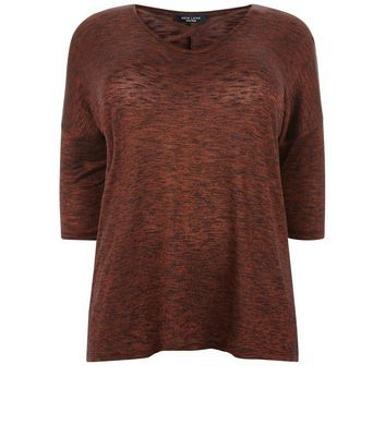 Curves Bronze Metallic Fine Knit Top - pattern: plain; predominant colour: bronze; occasions: casual; length: standard; style: top; fibres: polyester/polyamide - stretch; fit: body skimming; neckline: crew; sleeve length: half sleeve; sleeve style: standard; pattern type: fabric; texture group: jersey - stretchy/drapey; season: a/w 2016; wardrobe: highlight