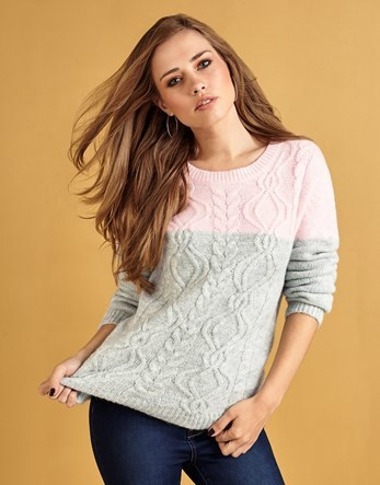 Colour Block Cable Jumper - style: standard; pattern: cable knit; secondary colour: blush; predominant colour: light grey; occasions: casual; length: standard; fibres: wool - mix; fit: standard fit; neckline: crew; sleeve length: long sleeve; sleeve style: standard; texture group: knits/crochet; pattern type: knitted - other; multicoloured: multicoloured; season: a/w 2016; wardrobe: highlight