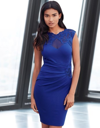 Applique Side Ruched Bodycon Dress - fit: tight; pattern: plain; sleeve style: sleeveless; style: bodycon; bust detail: sheer at bust; predominant colour: royal blue; occasions: evening; length: just above the knee; fibres: viscose/rayon - stretch; neckline: crew; sleeve length: sleeveless; texture group: jersey - clingy; pattern type: fabric; embellishment: lace; season: a/w 2016; wardrobe: event