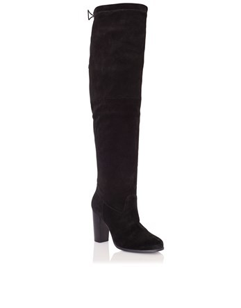 Faith Suede Knee High Boots - predominant colour: black; occasions: casual, creative work; heel height: high; heel: block; toe: round toe; boot length: knee; style: standard; finish: plain; pattern: plain; material: faux suede; wardrobe: investment; season: a/w 2016