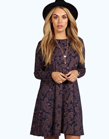 Plus Long Sleeve Swing Dress - style: trapeze; fit: loose; secondary colour: purple; predominant colour: navy; occasions: casual; length: just above the knee; fibres: viscose/rayon - stretch; neckline: crew; sleeve length: long sleeve; sleeve style: standard; pattern type: fabric; pattern: patterned/print; texture group: jersey - stretchy/drapey; multicoloured: multicoloured; season: a/w 2016; wardrobe: highlight