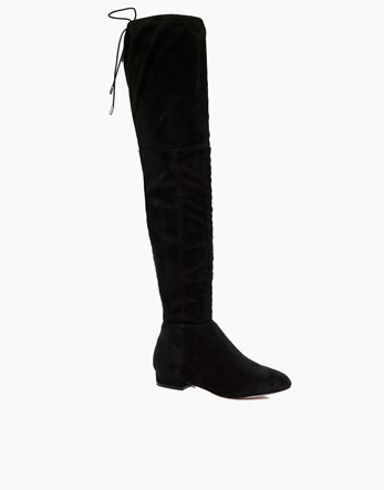 Flat Tie Back Over The Knee Boots - predominant colour: black; occasions: casual; material: faux leather; heel height: flat; heel: standard; toe: round toe; boot length: over the knee; style: standard; finish: plain; pattern: plain; wardrobe: investment; season: a/w 2016
