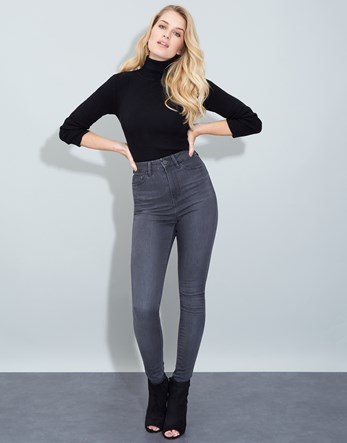 Skinny High Rise Jean - style: skinny leg; length: standard; pattern: plain; waist: high rise; pocket detail: traditional 5 pocket; predominant colour: charcoal; occasions: casual; fibres: cotton - stretch; texture group: denim; pattern type: fabric; season: a/w 2016; wardrobe: highlight