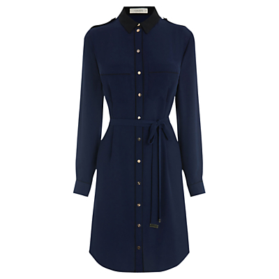 Utility Piped Shirt Dress, Navy - style: shirt; neckline: shirt collar/peter pan/zip with opening; pattern: plain; waist detail: belted waist/tie at waist/drawstring; predominant colour: navy; occasions: casual, creative work; length: just above the knee; fit: body skimming; fibres: polyester/polyamide - 100%; sleeve length: 3/4 length; sleeve style: standard; pattern type: fabric; texture group: jersey - stretchy/drapey; wardrobe: basic; season: a/w 2016