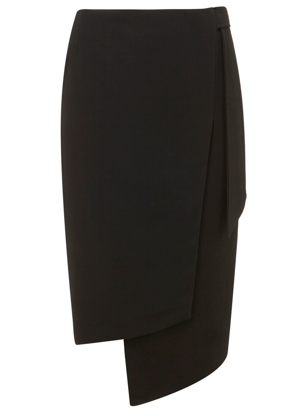 Black Formal Tie Skirt, Black - length: below the knee; pattern: plain; style: wrap/faux wrap; fit: tailored/fitted; waist: mid/regular rise; predominant colour: black; occasions: work; fibres: viscose/rayon - stretch; texture group: crepes; pattern type: fabric; wardrobe: basic; season: a/w 2016