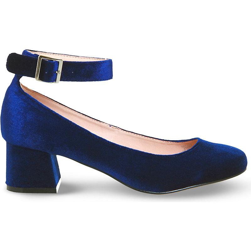 Flashback Velvet Mary Jane Block Heels, Women's, Navy Velvet - predominant colour: navy; occasions: evening, occasion, creative work; material: velvet; heel height: mid; embellishment: buckles; ankle detail: ankle strap; heel: block; toe: round toe; style: courts; finish: plain; pattern: plain; season: a/w 2016