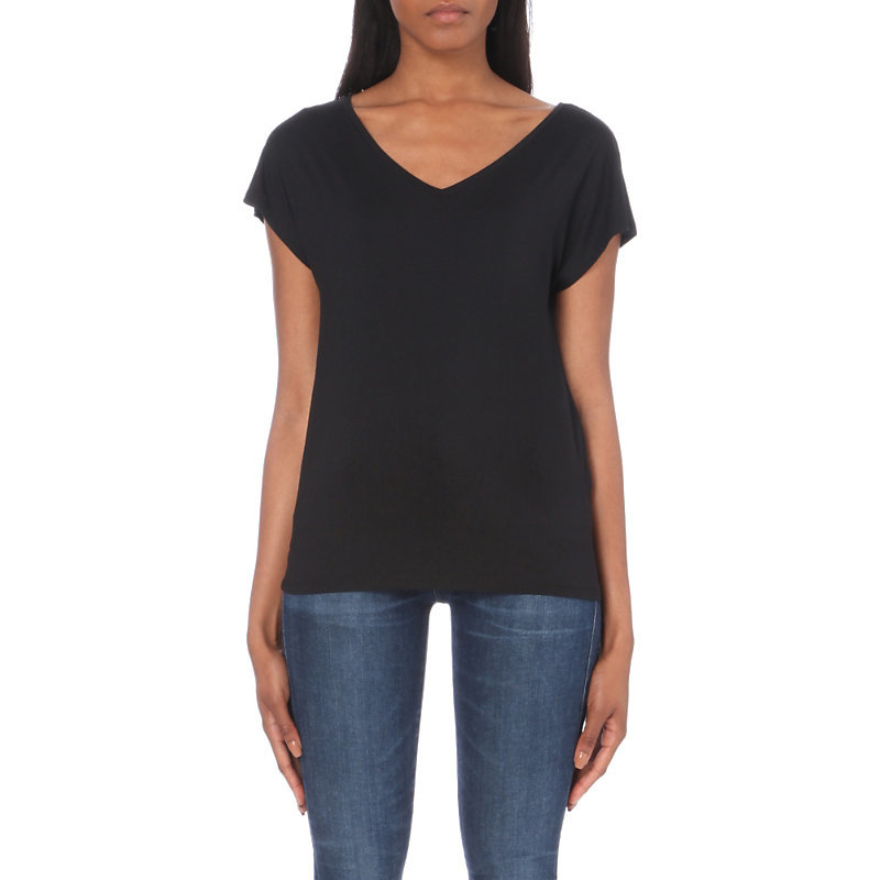 V Neck Jersey T Shirt, Women's, Size: Xs, Black - neckline: v-neck; pattern: plain; length: below the bottom; style: t-shirt; predominant colour: black; occasions: casual; fibres: viscose/rayon - stretch; fit: body skimming; sleeve length: short sleeve; sleeve style: standard; pattern type: fabric; texture group: jersey - stretchy/drapey; wardrobe: basic; season: a/w 2016