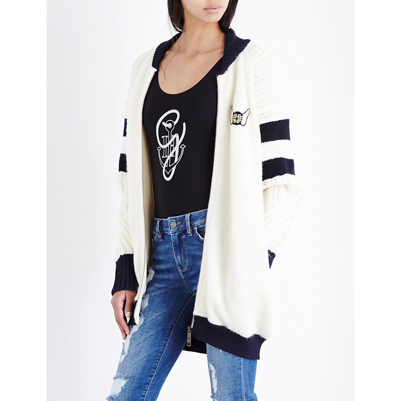 Tommy X Gigi Wool Blend Bomber Jacket, Women's, Snow White - collar: round collar/collarless; fit: loose; length: below the bottom; style: bomber; predominant colour: ivory/cream; secondary colour: black; occasions: casual; fibres: wool - mix; sleeve length: long sleeve; sleeve style: standard; collar break: high; pattern type: fabric; pattern size: standard; pattern: colourblock; texture group: woven light midweight; season: a/w 2016; wardrobe: highlight