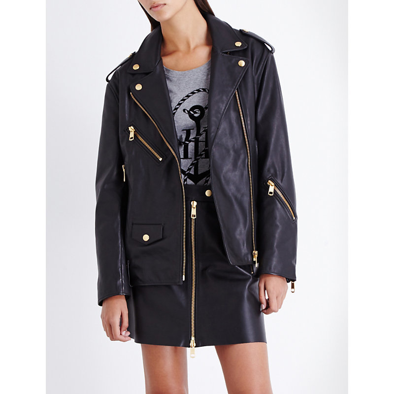 Tommy X Gigi Leather Jacket, Women's, Masters Black - pattern: plain; style: biker; collar: asymmetric biker; secondary colour: gold; predominant colour: black; occasions: casual; length: standard; fit: straight cut (boxy); fibres: leather - 100%; sleeve length: long sleeve; sleeve style: standard; texture group: leather; collar break: medium; pattern type: fabric; season: a/w 2016; wardrobe: highlight