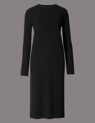 Pure Cashmere Longline Crew Neck Dress - style: shift; length: below the knee; neckline: round neck; pattern: plain; predominant colour: black; occasions: casual; fit: body skimming; fibres: cashmere - 100%; sleeve length: long sleeve; sleeve style: standard; texture group: knits/crochet; pattern type: knitted - fine stitch; wardrobe: basic; season: a/w 2016; trends: metropolis