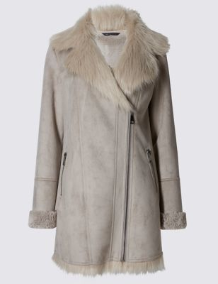Faux Fur Longline Aviator Jacket - pattern: plain; collar: standard biker; hip detail: draws attention to hips; length: mid thigh; predominant colour: stone; occasions: casual; fit: straight cut (boxy); fibres: polyester/polyamide - 100%; sleeve length: long sleeve; sleeve style: standard; collar break: high/illusion of break when open; pattern type: fabric; texture group: sheepskin; style: biker; season: a/w 2016; wardrobe: highlight