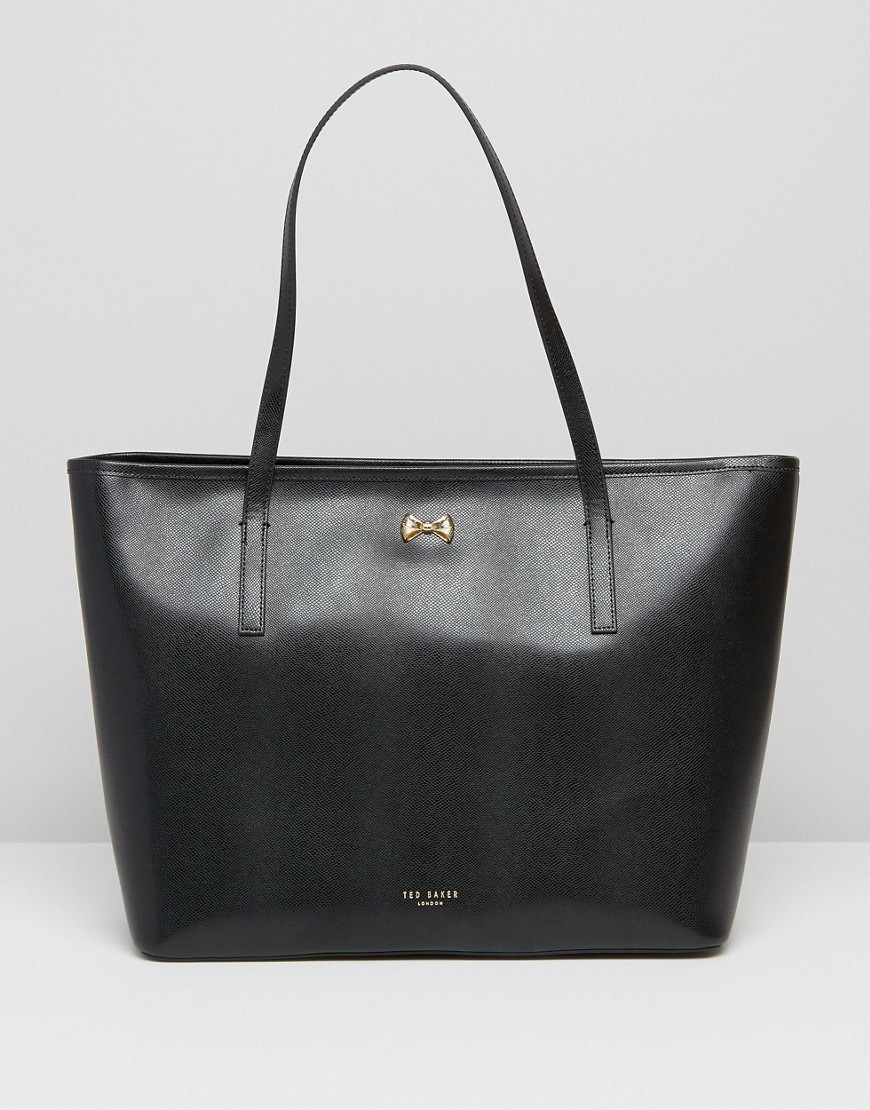 Leather Bow Shopper In Black Black - predominant colour: black; occasions: casual, work, creative work; type of pattern: standard; style: tote; length: handle; size: oversized; material: leather; pattern: plain; finish: plain; wardrobe: investment; season: a/w 2016