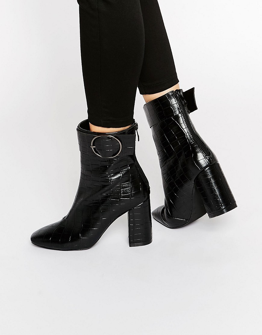 Kim Ring Buckle Croc Heeled Ankle Boots Black Croc - predominant colour: black; occasions: casual, creative work; material: animal skin; heel height: high; embellishment: buckles; heel: block; toe: pointed toe; boot length: ankle boot; style: standard; finish: plain; pattern: animal print; season: a/w 2016; wardrobe: highlight