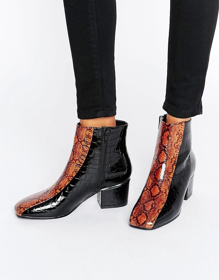 Reaper Ankle Boots Black/Orange - secondary colour: tan; predominant colour: black; occasions: casual, creative work; material: faux leather; heel height: mid; heel: block; toe: square toe; boot length: ankle boot; style: standard; finish: patent; pattern: animal print; season: a/w 2016; wardrobe: highlight