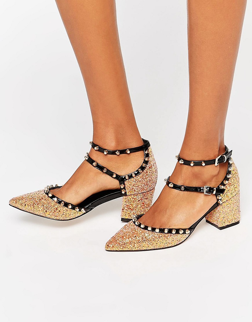 Slow Down Studded Pointed Heels Glitter - predominant colour: gold; occasions: evening, creative work; material: fabric; heel height: mid; embellishment: studs; ankle detail: ankle strap; heel: block; toe: pointed toe; style: courts; finish: metallic; pattern: plain; season: a/w 2016; wardrobe: highlight