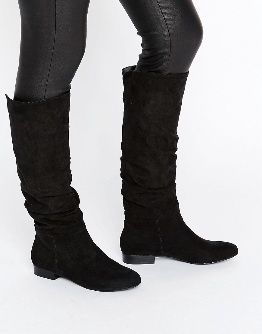 Collaboration Slouch Knee High Boots Black - predominant colour: black; occasions: casual, creative work; material: suede; heel height: mid; heel: standard; toe: round toe; boot length: knee; style: standard; finish: plain; pattern: plain; wardrobe: investment; season: a/w 2016