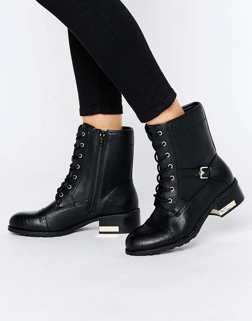 Cerirwen Lace Up Flat Ankle Boots Black Synthetic - predominant colour: black; occasions: casual; material: faux leather; heel height: flat; heel: standard; toe: round toe; boot length: ankle boot; style: standard; finish: plain; pattern: plain; wardrobe: basic; season: a/w 2016