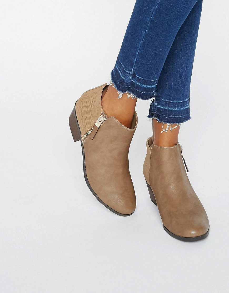 Gunson Zip Ankle Boots Taupe - predominant colour: camel; occasions: casual; material: faux leather; heel height: mid; heel: standard; toe: round toe; boot length: ankle boot; style: standard; finish: plain; pattern: plain; wardrobe: basic; season: a/w 2016