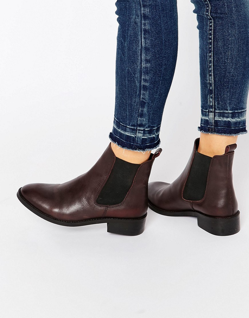 Attribute Leather Chelsea Ankle Boots Oxblood - predominant colour: burgundy; occasions: casual, creative work; material: leather; heel height: mid; heel: block; toe: round toe; boot length: ankle boot; finish: plain; pattern: plain; style: chelsea; season: a/w 2016; wardrobe: highlight