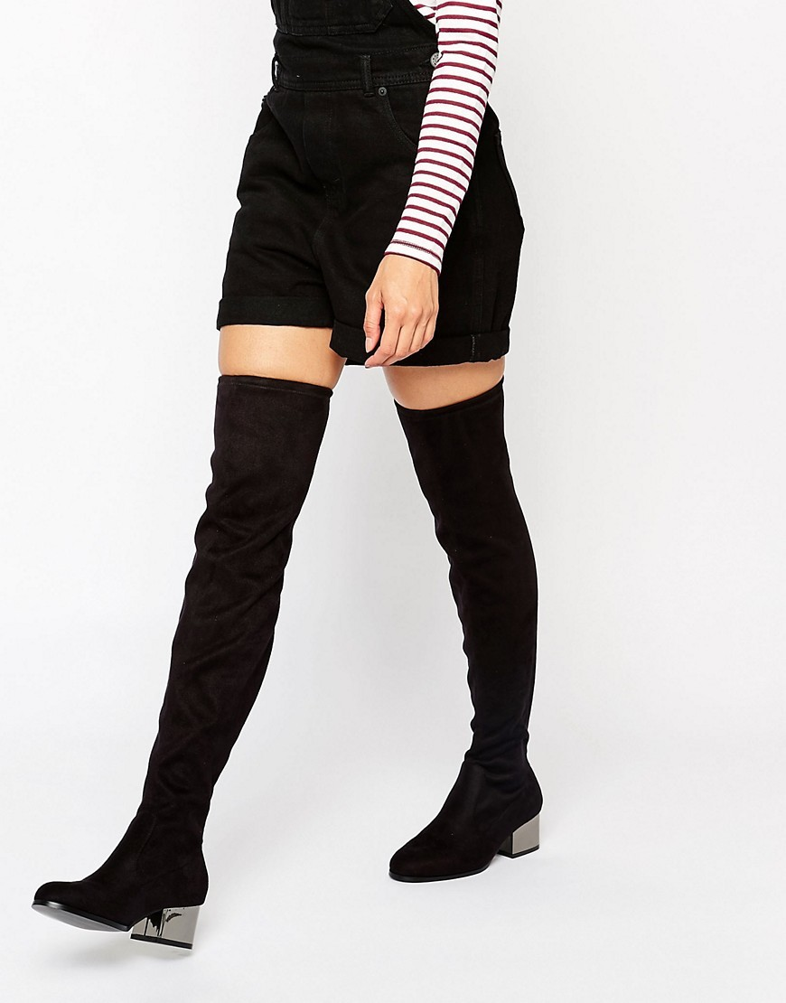 Over The Knee Boots With Electroplated Heel Black Micro - predominant colour: black; occasions: casual, creative work; material: suede; heel height: mid; heel: block; toe: round toe; boot length: over the knee; style: standard; finish: plain; pattern: plain; wardrobe: investment; season: a/w 2016