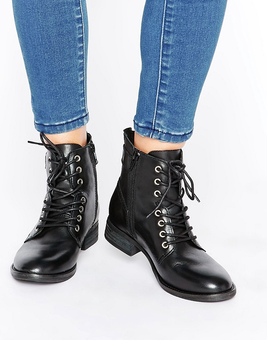 Germanie Flat Lace Up Leather Ankle Boots Black Leather - predominant colour: black; occasions: casual, creative work; material: leather; heel height: mid; heel: block; toe: round toe; boot length: ankle boot; finish: patent; pattern: plain; style: lace ups; wardrobe: basic; season: a/w 2016