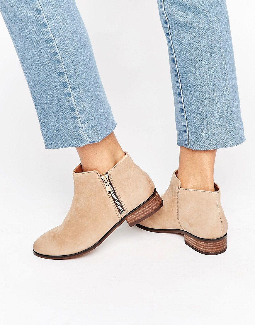 Julianne Taupe Zip Flat Leather Ankle Boots Taupe Leather - predominant colour: camel; occasions: casual, creative work; material: suede; heel height: mid; heel: block; toe: round toe; boot length: ankle boot; style: standard; finish: plain; pattern: plain; wardrobe: basic; season: a/w 2016